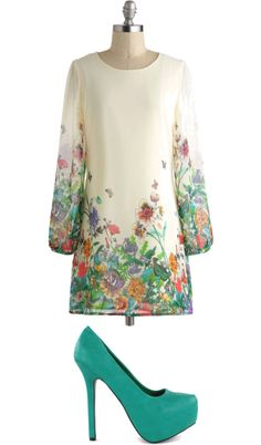 """""""Garden Party Dress"""" by jodith-ealy on Polyvore. Not these shoes, though."""