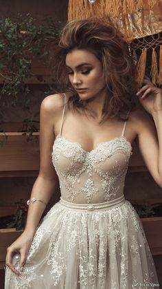 julie vino 2017 bridal spagetti strap sweetheart neckline full embellishment bustier romantic sexy a line wedding dress sweep train (1257) zv