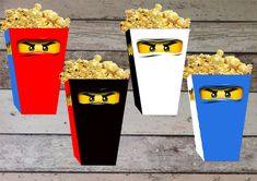 INSTANT DOWNLOAD Ninjago Printable Birthday Popcorn/ Snack Box, Treat Box - Digital File