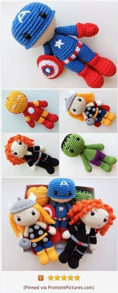 The Avengers team dolls: Iron Man, Captain America, Thor, Black Widow and Hulk - amigurumi superhero toys, which will be perfect gift for adult and young fans :) #ksunnyhandicraft https://www.etsy.com/KSunnyHandicraft/listing/536065568/crochet-superheroes-iron-man-captain?ref=shop_home_active_12 (Pinned using https://PromotePictures.com)