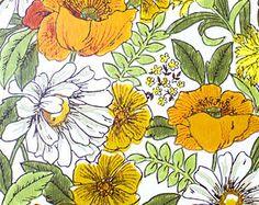 Retro Wallpaper - Vintage Orange, Yellow, Green, and White Floral Pattern - The Wallflower Shop