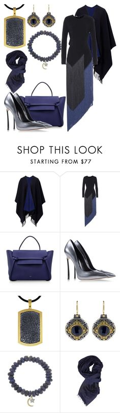 """""""dressed up gray blue and black"""" by tabby125 ❤ liked on Polyvore featuring STELLA McCARTNEY, CÉLINE, Casadei, Alex Soldier, Konstantino, Sydney Evan and Armani Jeans"""