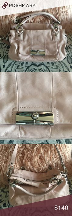Blush Coach Purse Coach bag in near perfect condition. Bag is leather, with silver hardware. Light silver interior— very good condition.  Bag is very fun to carry! I loved the way my stuff sat in the bag and how easy it was to get into the bag. Coach Bags Shoulder Bags