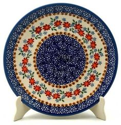 "10"" Dinner Plate (Red Daisy Daze) from The Polish Pottery Outlet"