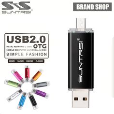 Suntrsi OTG usb flash drive Smart Phone Tablet PC 64GB 32GB 16GB usb 2.0 pen drive External Storage pendrive For Android PC