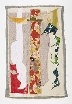 """Rebe by Debra Weiss """"As part of a project to waste nothing, I began composing with the scrap fabric collected after the production of my clothing was complete. I used each scrap of fabric just as it was, cutting nothing. In my fabric works, I am simply responding to the relationships between color and form in the same way one would make a painting or collage. This series will be complete when I reach 100 works. Each piece is signed and numbered on the back."""""""