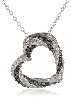"""Sterling Silver Black and White Diamond Tilted Open Heart Pendant Necklace (0.22 cttw, I-J Color, I2-I3 Clarity), 18"""" Amazon Curated Collection http://www.amazon.com/dp/B00HN31ZWO/ref=cm_sw_r_pi_dp_OkzHub1VK9A32"""