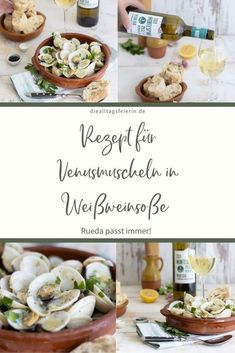 Rezept für Venusmuscheln in Weißweinsoße, mit Weißwein von D. O. Rueda Montespina Verdejo 2020 Tapas, Camembert Cheese, Dairy, Food, Russian Potato Salad, Advertising, Food And Drinks, Food Food, Essen