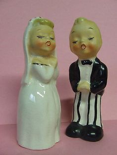 Vintage Napco Bride & Groom Couple Salt & Pepper Shakers (Japan/#S689) in Collectibles,Kitchen & Home,Kitchenware | eBay