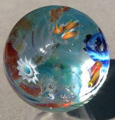 """Hand Blown Glass Vortex Marble MIB by Rae Grout ~ Under the Riptide ~ 1.58"""" #VortexmurriniDichroicGoldstone #HandblownFlameworkedGlass"""