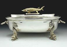 Rare Asprey sterling silver caviar container with spoon Tarnished Silver, Antique Silver, Sterling Silver, Sturgeon Fish, Glass Gemstone, Silver Trays, Novelty Items, Caviar, Dinnerware