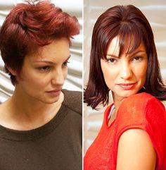 Antes e depois da modelo internacional Natália Andrade pelos profissionais Felipe Rafael (corte) e Sandra Motta (coloração e mega hair)