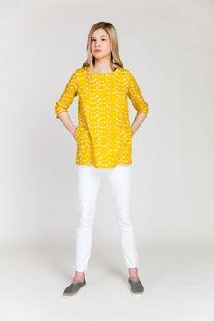 New Arrivals – pirkko. Poplin, Cotton Fabric, Tunic Tops, Yellow, Stylish, Sleeves, Spinning, Collection, Hanger