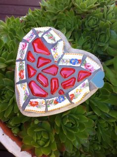 Small garden heart - glass, vintage china and tile