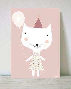 Poster cat by Haciendo el Indio.Printed on 200 grs matte coated paper. Cute Illustration, Graphic Design Illustration, Kids Room Art, Art For Kids, Kids Prints, Art Prints, Rose Pastel, Beautiful Posters, Pink Cat