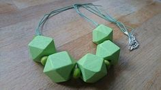 Chunky green wooden geometric necklace £15.00