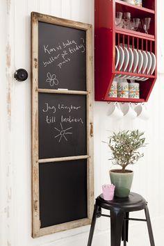 Chalkboard from an old window frame