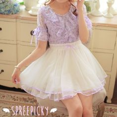 Cherry Patterns Flounce Chiffon Purple and White High Waist Dress Free Ship SP140847 #kawaiifashion #lolita