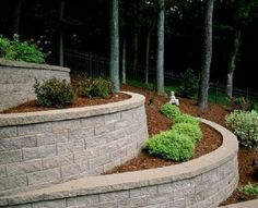Tiered gardens cascade down the slope of this yard for a graceful visual effect.