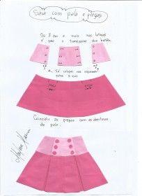 Esquema de montagem da saia com pala e pregas fêmea.
