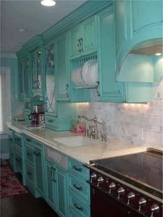 Hilley Homestead | Turquoise kitchen cabinets, Turquoise kitchen ...