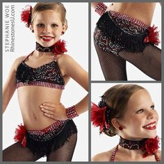 Shades of grey and black add shadow to a red dance costume. The stone pattern follows the design of the fabric.