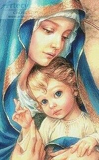 Blessed Mother Mary with child Jesus Blessed Mother Mary, Divine Mother, Blessed Virgin Mary, Religious Pictures, Religious Icons, Religious Art, Immaculée Conception, Images Of Mary, Mary And Jesus