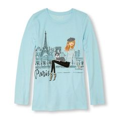 s Long Sleeve Glitter 'Paris' Fashionista Graphic Tee - Blue T-Shirt - The Children's Place