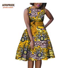 2017 autumn women african dress AFRIPRIDE private custom sleeveless knee-length A-Line pleated casual dress pure cotton African Fashion Ankara, African Fashion Designers, Latest African Fashion Dresses, African Print Fashion, Short African Dresses, African Print Dresses, African Clothes, African Prints, African Fabric