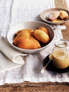 Orange-blossom madeleines with burnt-honey crème