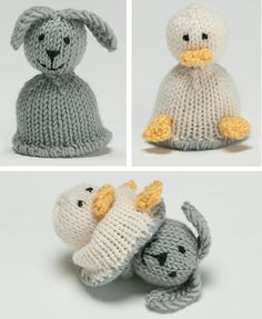 Free Knitting Pattern for Bunny and Duck Flip Toy - This Mini-Reversible Duck to Bunny is a topsy turvy toy. Just turn one of the animal buddies inside out to see the new animal. Designed by Susan B. Anderson. Pictured project by azadi