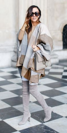 Nordstrom Check Woven Poncho   J.CREW Long Sleeve Italian Cashmere Sweater   RAG & BONE 'THE DRE' Skinny Jeans   STUART WEITZMAN HIGHLAND BOOT @alysonhaley