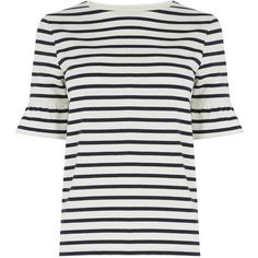 Warehouse Stripe Flute Sleeve Tee, Blue ($33) ❤ liked on Polyvore featuring tops, t-shirts, cotton tee, blue striped t shirt, white t shirt, stripe t shirt and blue t shirt