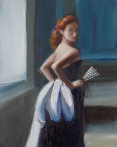 Blue Satin Sash by Janet Hill