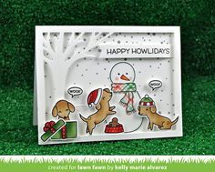 the Lawn Fawn blog: Happy Howlidays Dog Christmas Card by Kelly Marie Alvarez.