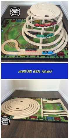 Mountain Spiral Railway is a custom, wood track that connects to standard wooden Thomas and Brio track sets.aff