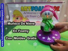 Regalos caseros, muñecos de nieve en gomaeva http://ini.es/1wk3X2o #DecoracionDeNavidad, #MuñecosDeNieve, #RegalosCaseros