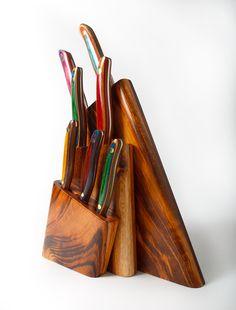 7 Piece Tigerwood Knifeblock Set - Chef Knives Set-7pc Tigerwood Knifeblock