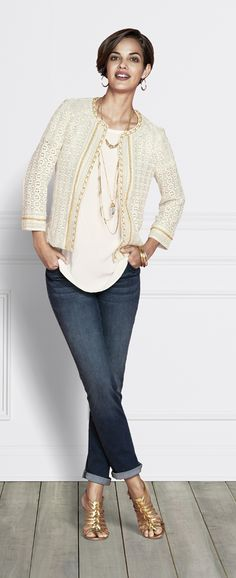 The Best Jeans EVER: Chico's So Slimming Ankle Jean. You'll love the length with both flats and heels. (Paired with the Embellished Lace Artisan Jacket an Subtle Details Crystal Top.)
