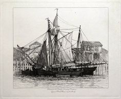SCHOONER SMACK COASTING TRADERS Lying at Fresh Wharf London Bridge Drawn and Etched by E W Cooke Published London 1829 in Cooke s Sixty Five Plates
