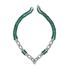 "CARTIER. ""Viracocha"" Necklace - platinum, one 2.02 carat shield-cut diamond, emerald beads, calibrated diamonds, brilliant-cut diamonds. #Cartier #CartierRoyal #2014 #HauteJoaillerie #HighJewellery #FineJewelry #Emerald #Diamond"