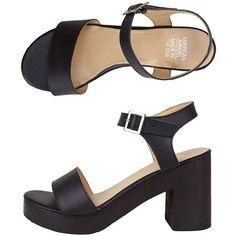 Wooden Heel Sandal (3.525 UYU) ❤ liked on Polyvore featuring shoes, sandals, heels, black, wood heel platform shoes, platform sandals, wood heel shoes, black heeled shoes and wooden heel shoes
