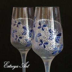 Wedding flutes Toasting Flutes Champagne Glasses by EstreyaArtShop