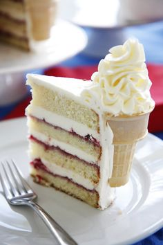 """""""Ice Cream"""" Birthday cake, original recipe in Lithuanian. Uses a frosting/pudding type cream for the """"ice cream."""""""