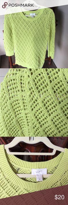 Loft medium pullover sweater.  New Loft med bright green/yellow all cotton sweater.  Worn once. Loft Sweaters Crew & Scoop Necks