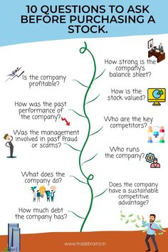 10 Questions to Ask Before Purchasing a Stock- Stock market investing checklist for beginners! Stock Market Investing, Investing In Stocks, Investing Money, Stock Market Basics, Stock Market For Beginners, Info Board, Stock Trading Strategies, Dividend Investing, Investment Tips