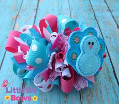 Pink Turquoise and White Peacock Feltie Boutique by littlebitbows