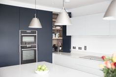 Bespoke Kitchen designed with contrasting colours, to define zones in open plan living area. Contact Noel Dempsey today for your new kitchen! Family Kitchen, New Kitchen, Bespoke Kitchens, Open Plan Kitchen, Open Plan Living, Interior Design Kitchen, Minimalist Design, Living Area, House Plans