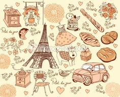 Collection symbols of Paris. Hand drawing. by marinamik - Imagens vectoriais em stock