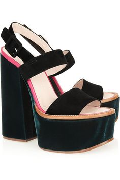 Heel measures approximately 165mm/ 6 inches with a 60mm/ 2.5 inches platform Bottle-green velvet, black suede, bright-pink leather Buckle-fastening slingback strap